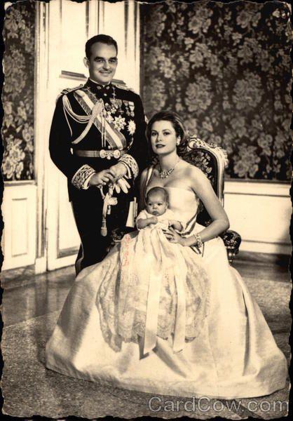 Prince Rainier and Princess Grace of Monaco with baby daughter Caroline.