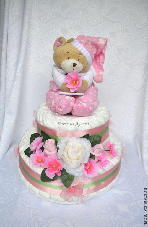 """Купить Торт из памперсов"""" Мишкин сон в розовом"""" - розовый, торт из памперсов, торт из подгузников"""