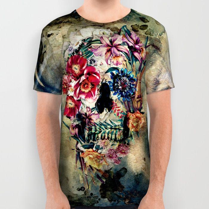 Skull on old grunge II All Over Print Shirt#skull #grunge #womenswear #menswear #tshirts #design