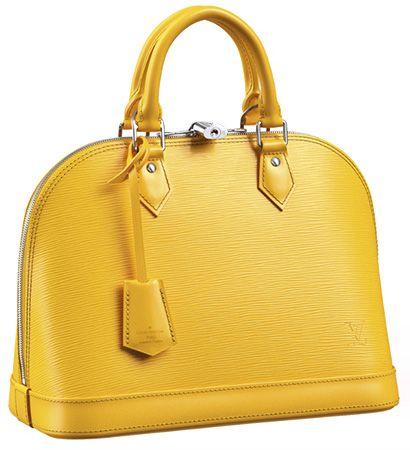 Louis Vouitton Alma PM Epi Leather Bag in citron yellow