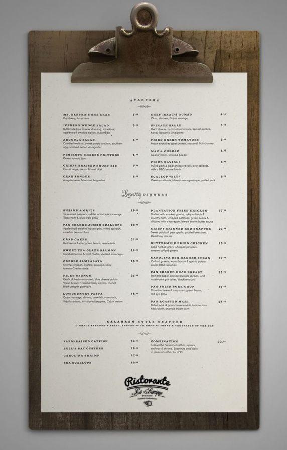 my new restaurant's menu