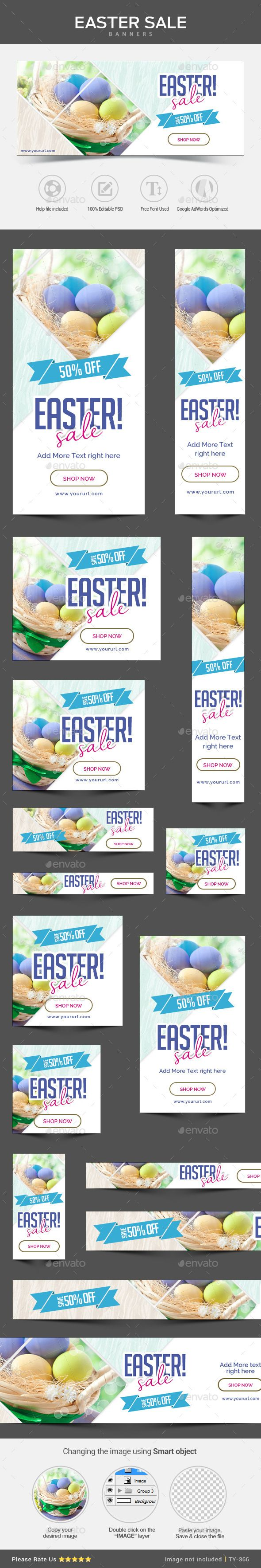 Easter Sale Banners (Photoshop PSD, CS3, adroll, animated banner, banner pack, banner set, banners, bunny, business, coupon, deal, discount, easter sale, egg, flat design, gif banner, google adwords, Google adwords banner, marketing, metro design, multi purpose, promotion, promotions, retargeting, sales, social media, studio, web banner)