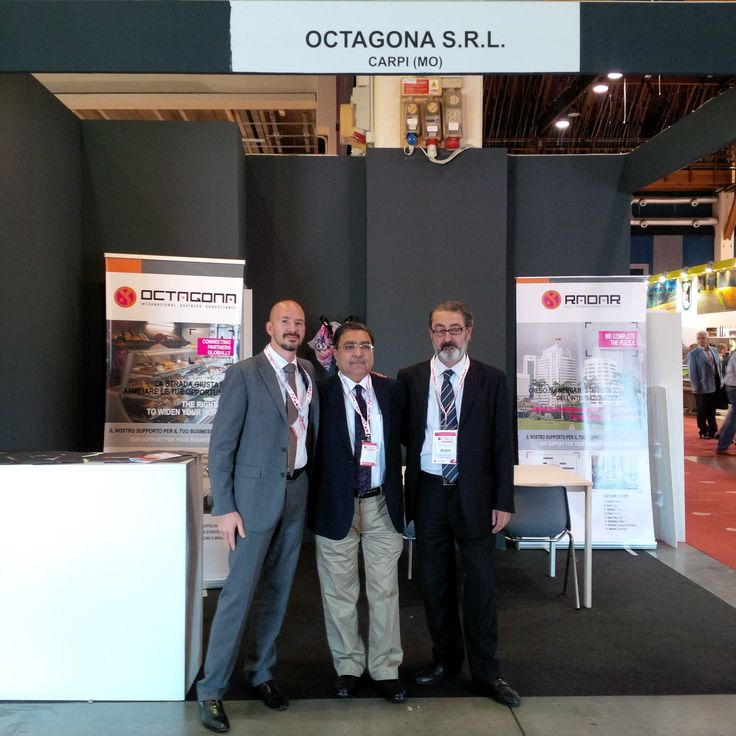 Our stand at #fierediparma. Some of the members of #octagona staff at #cibus2014