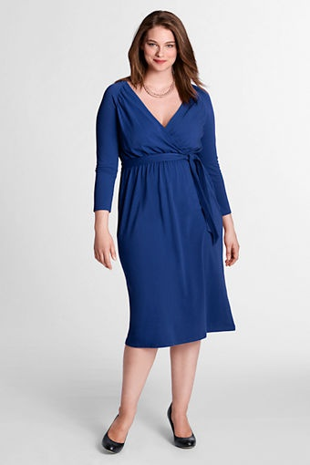 Women's 3/4-sleeve Crepe Jersey Gathered Surplice Dress from Lands' EndCrepes Jersey, Women 3 4 Sleeve, Surplice Dresses, Jersey Gathering, Plus Size, Lands End, Gathering Surplice, 34Sleev Crepes, 3 4 Sleeve Crepes