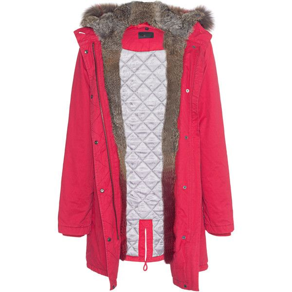 IQ BERLIN Parka Dipdye Fur Red // Parka with removable fur facing (€679) ❤ liked on Polyvore featuring outerwear, coats, fur hooded parka, parka coats, fur-trimmed coat, fur trim hooded parka and red parkas