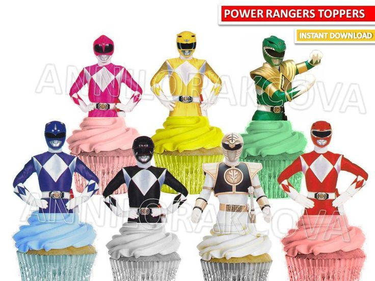 Power Rangers Cupcake toppers, Power Rangers cake topper Printable, YOU PRINT