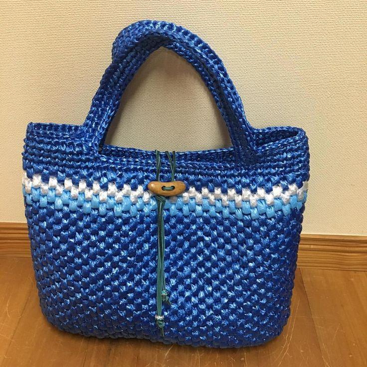 A4サイズ、出来ました。 #crochet #かぎ針編み #뜨개질 #鉤針 #スズランテープバッグ #スズランテープ