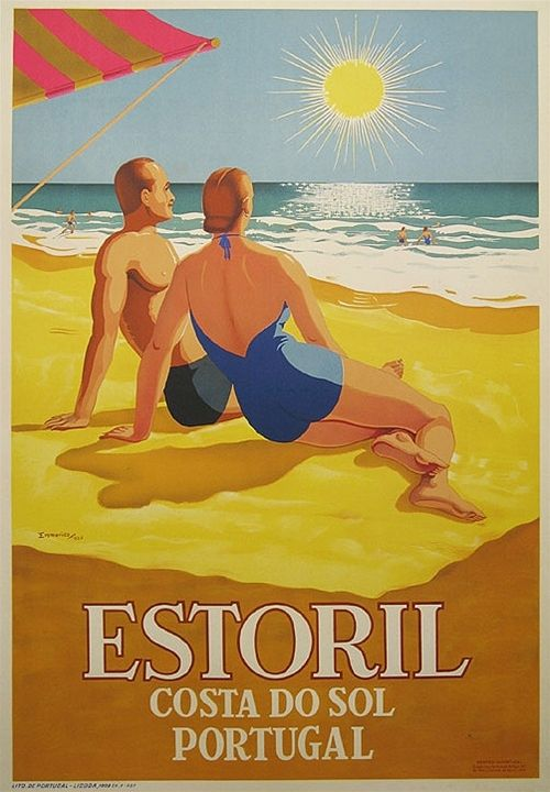 Estoril Portugal #vintage #tourism #poster (1956) couple at the beach