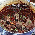 Cocotte de boeuf mijoté à la tomate et aux olives