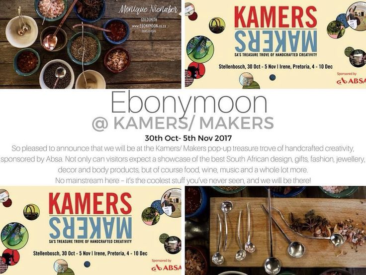 Our local goldsmith Ebonymoon will be at the 15th KAMERS/Makers in the heart of the Stellenbosch Winelands. http://ift.tt/2y2NwBI  EVENT DETAILS: 31 October - 5 November 2017 Anura Vineyards 9:00 - 17:00 daily  TICKETS: R60 at www.plankton.mobi R80 at the entrance  includes a limited edition KAMERS/Makers shopper bag and magazine. Multiple entry tickets available at R120. Group discounts available. Students and pensioners R60. #art #kamers2017