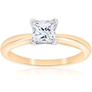 E VS 1ct GIA Certifed Princess Cut Solitaire Diamond Engagement Ring 14k Gold