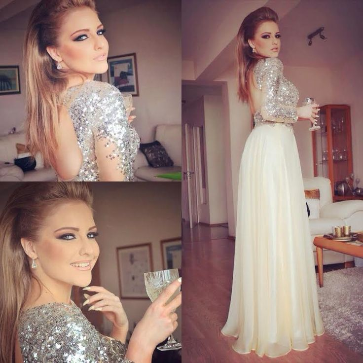 Erika Wears Mac Duggal Style 85307M in lemon. One sleeve prom dress with silver sequins and long skirt.