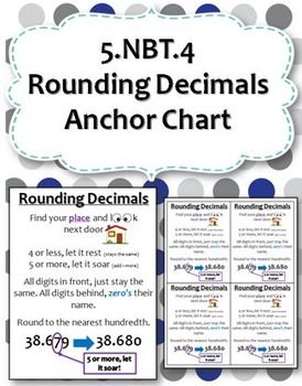 This listing is for an anchor chart showing how to round decimals.Ideas for…