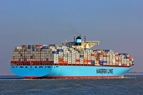 Emma Maersk container ship underway.