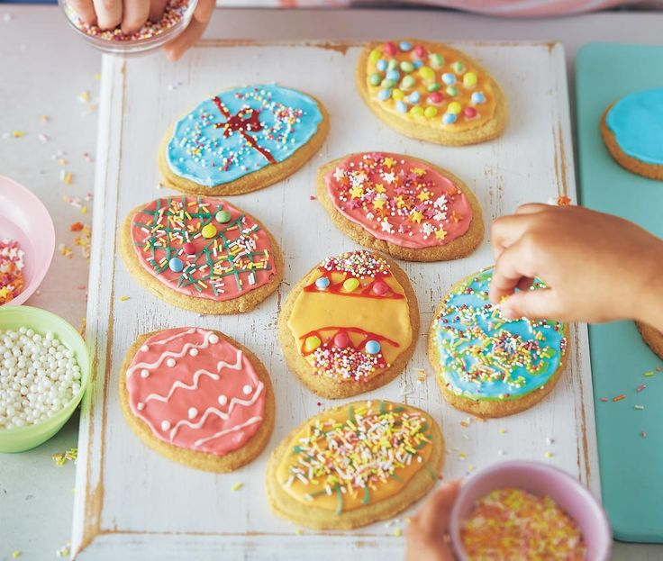 kid-friendly recipe for Easter egg-shaped biscuits that kids can decorate