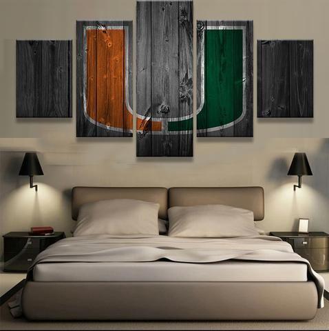 5 Pieces Miami Hurricanes Sports Team Logo Framed Canvas Wall Art Home Decor