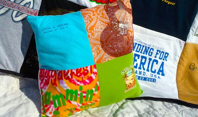 T-Shirt Memory Pillows- might be good if I don't have enough for a quilt.