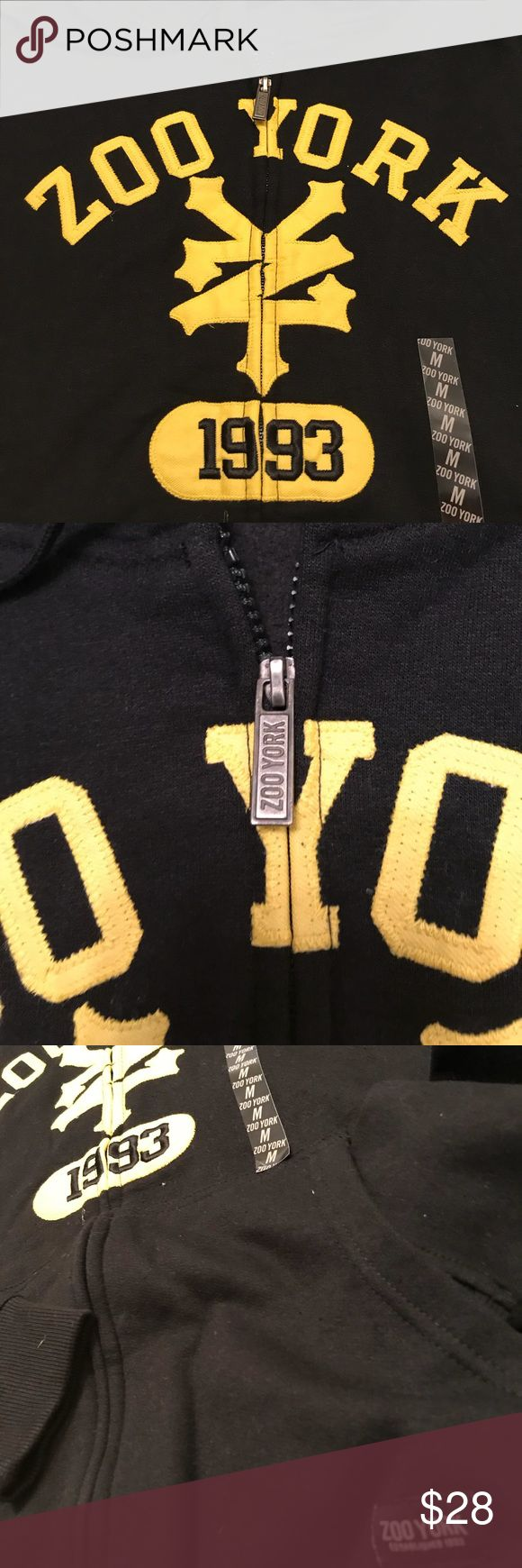 Zoo York Boys Zip Up Hoody Black/Yellow sz M Zoo York Boys Zip Up Hoody Black/Yellow sz M. This has been in our stored inventory for over 8yrs. Perfect condition Brand New with Tags. Hoody has stitched on logo and lettering. Room on the back for custom name. Perfect condition. Zoo York Shirts & Tops Sweatshirts & Hoodies