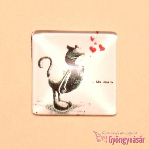 Szerelmes cica mintás, négyzet alakú, 25 mm-es üveglencse • Gyöngyvásár.hu