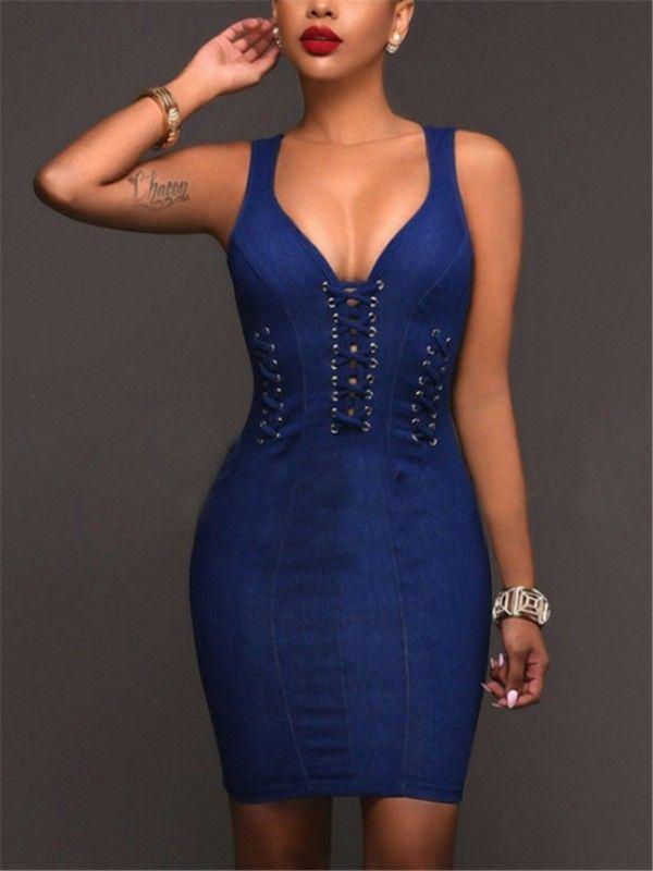 Double V Lace-up Denim Bodycon Dress