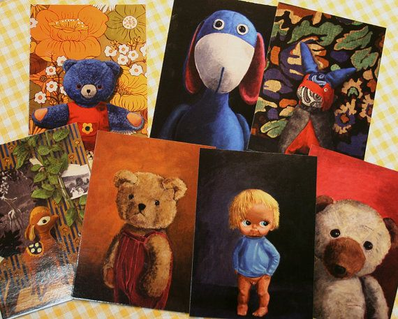Selection of postcard prints of original paintings by Anne Sofie Nomeland. Want a portrait of your own childhood plush toy? ___________________________ 10% Discount Coupon Code: PINTOFF1610X ___________________________