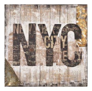 $189, NY Style Wall Art W6264, 33.1'' x 35.4'' x 2'', urban and grungy, this piece exudes the atmosphere of the city that never sleeps.