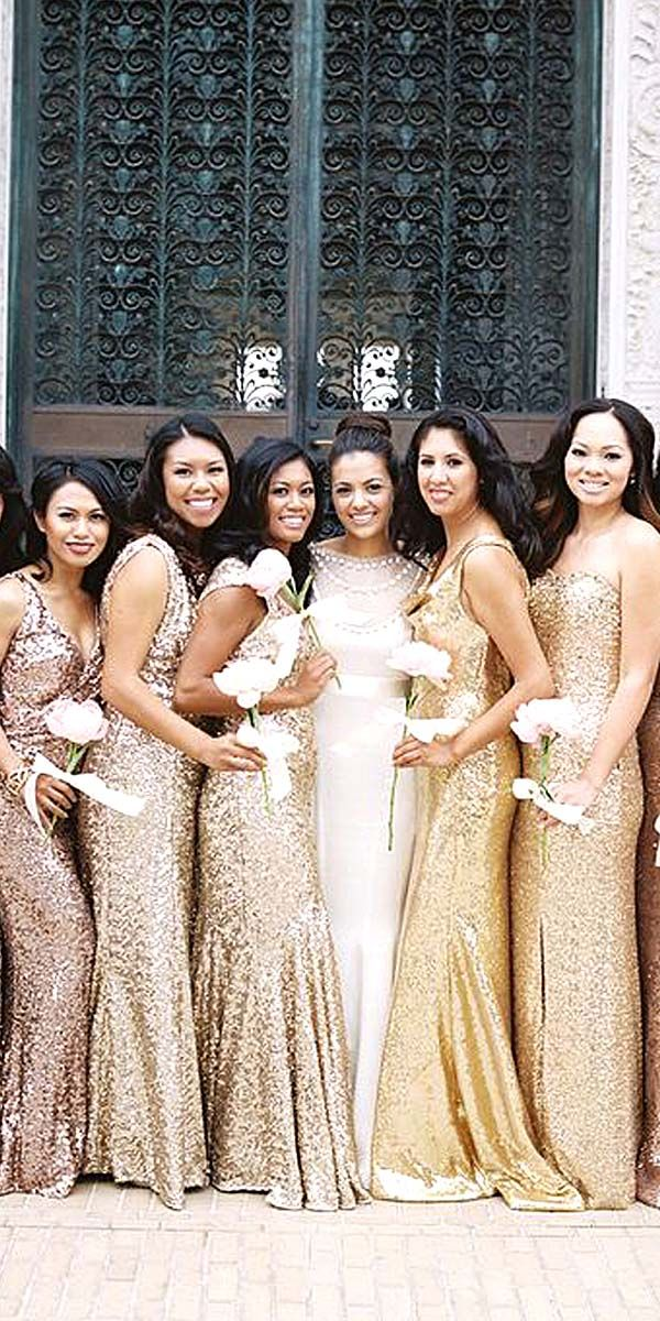 2018 Wedding Trends Sequined And Metallic Bridesmaid Dresses Pinterest