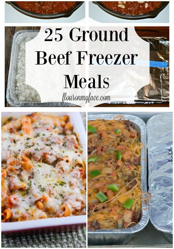 25 Ground Beef Freezer Meals -Cheap meals for a family via flouronmyface.com