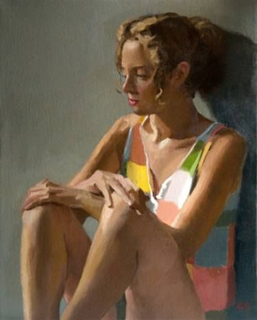"Saatchi Art Artist Rick Perez; Painting, ""Girl in Colorful Vest"" #art"