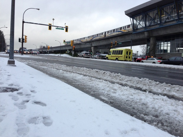 Traffic along Lougheed Highway during Tuesday morning's rush hour was frightful, as snow and ice made driving very tough.