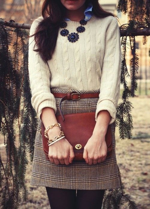 Classic plaid miniskirt and cable sweater