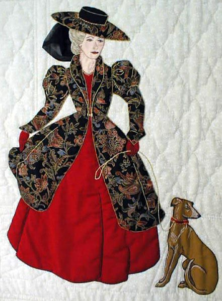 """#4  """"Gentlewomen Bonnet Girls Relatives & Friends""""  Suzette $6.50.  The French Bonnet Girls Suzette and Claudette can be used alone or together. Suzette has a greyhound dog on a leash."""