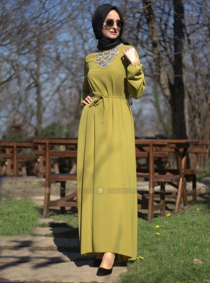 Robe cintrée - Vert - Robe - Modanisa