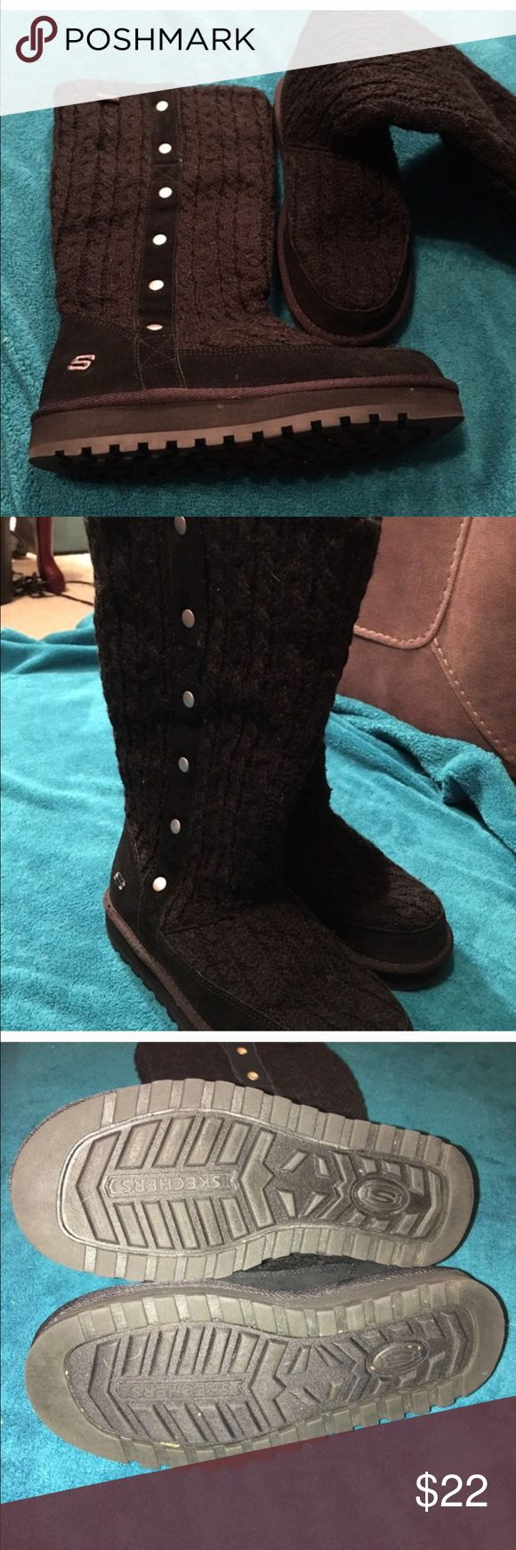 Skechers winter boots Knit type black boots. Super warm. Worn maybe 3 times. Skechers Shoes Winter & Rain Boots
