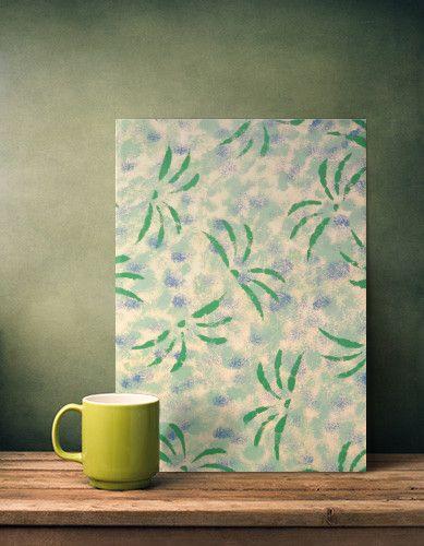 PALMS. - metal print by #displate #palm #green #plants #pattern #pastels #metalprint #sponge #dab #trees #leaves #design #paleblue #pale