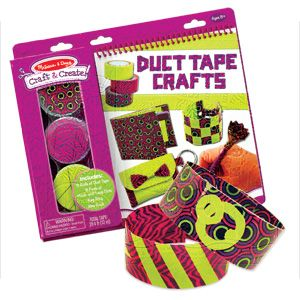 NEW! Duct Tape Crafts - With a roll of duct tape, a creative crafter can do just about anything--as long as she knows how! Unique book-and-craft set includes illustrated, step-by-step instructions for 8 exciting duct-tape craft projects...plus three rolls of patterened tape (12 meters total!) and 8 pairs of hook-and-loop dots. Ages 8+. (Product Number MD5064) $12.98 CAD