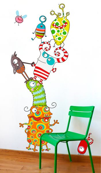 sticker monstres rigolos pour chambre d'enfant. Serie-Golo.