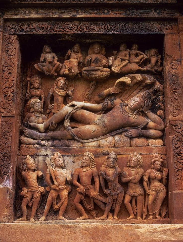 Vishnu on the Seshnag, the coiled serpent who represents infinity, with a frieze of the five Pandavas & Draupadi at the Dashavatara Temple at Deogarh.