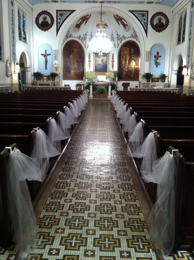 White and gold wedding church decor simple but elegant for Church wedding decorations