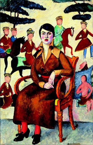 Илья Машков «Портрет дамы в кресле» 1915 г. Холст, масло.