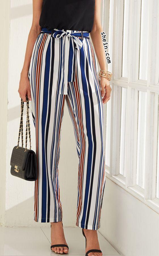 Multicolor Vertical Stripe Wide Leg Pants