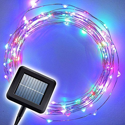 Solar String Lights - Multi-Color LED on a Flexible Copper Wire   20ft LED Light String Set with Solar Panel