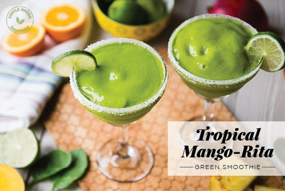 Tropical Mango-Rita Green Smoothie Ingredients: 2 cups fresh spinach 1 cup unsweetened coconut water, 1 peeled orange, 2 cups frozen mango, 1 cup frozen pineapple, Juice of 1/2 lime, plus lime slices for garnish