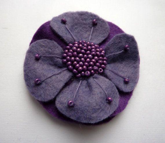 Purple flower felt brooch