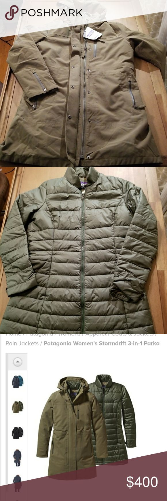 NWT Patagonia STORMDRIFT 3 in 1 parka womans Large NEW WITH TAGS. patagonia storm drift 3 in 1 parka, fatigue green, womens large. Style # 28110 Open to reasonable offers Like the tres 3 in 1 parka, but polyester/synthetic down instead of goose feather down Patagonia Jackets & Coats