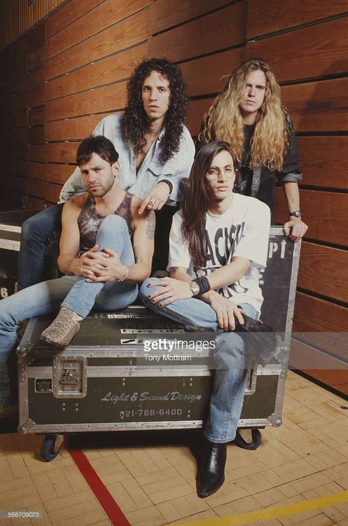 American hard rock band Extreme, circa 1990. From left to right, they are drummer Paul Geary, singer Gary Cherone, guitarist Nuno Bettencourt and bassist Pat Badger.