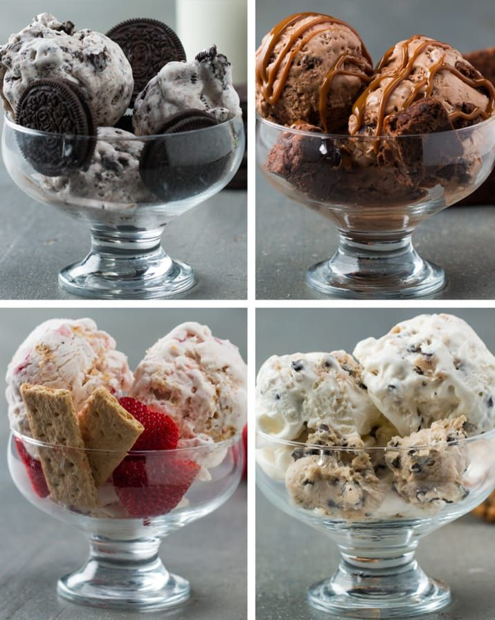 Easy Homemade Ice Cream Recipes with a base of whipped cream and sweetened condensed milk.