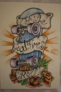Desenho feito para uma tatuagem de Skate desenhada com caneta e lápis de cor em uma folha A4, dica do retirada do site deviantart com altos desenhos.