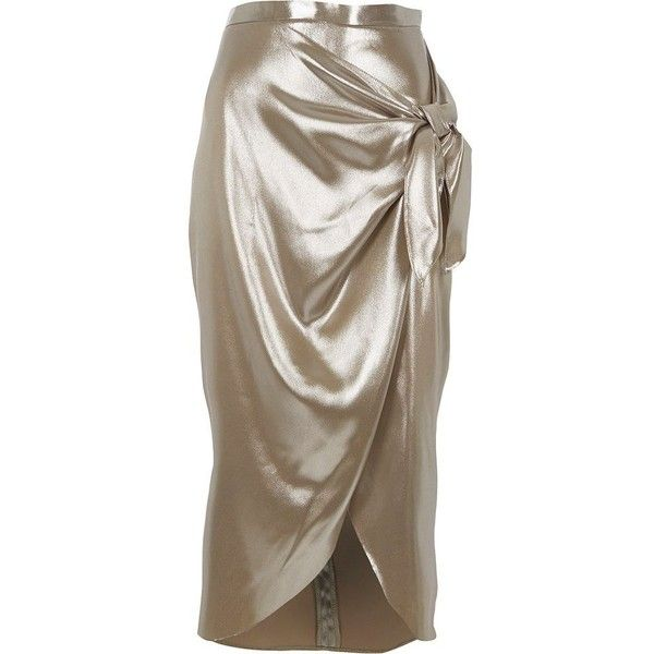 River Island Silver metallic tie front wrap skirt (220 QAR) ❤ liked on Polyvore featuring skirts, midi skirts, silver, women, tall skirts, wrap skirt, river island, brown skirt and midi wrap skirt