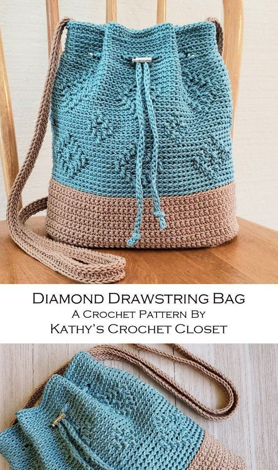 Häkeln Sie PATTERN Diamond Drawstring Bag DIY Crossbody Bag